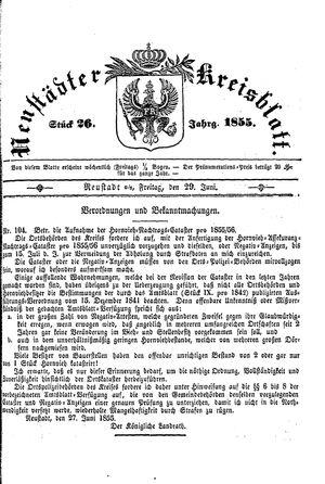 Neustädter Kreisblatt on Jun 29, 1855