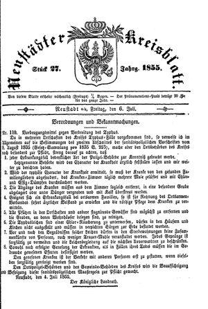 Neustädter Kreisblatt vom 06.07.1855