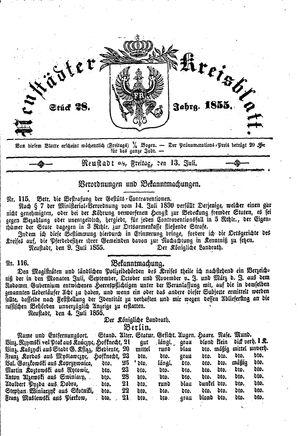 Neustädter Kreisblatt vom 13.07.1855