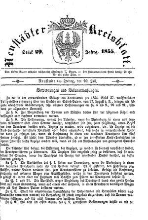 Neustädter Kreisblatt vom 20.07.1855