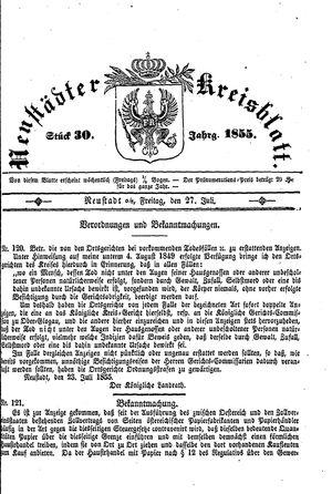 Neustädter Kreisblatt vom 27.07.1855