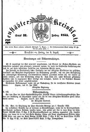 Neustädter Kreisblatt vom 03.08.1855