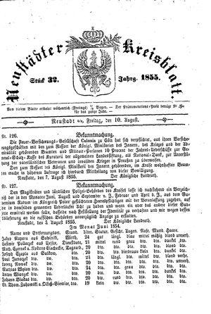 Neustädter Kreisblatt vom 10.08.1855