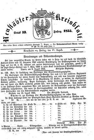 Neustädter Kreisblatt vom 17.08.1855