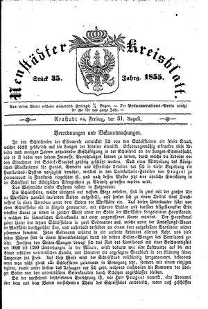 Neustädter Kreisblatt vom 31.08.1855