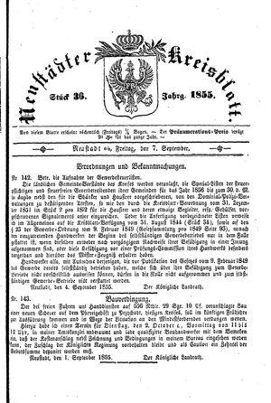 Neustädter Kreisblatt vom 07.09.1855