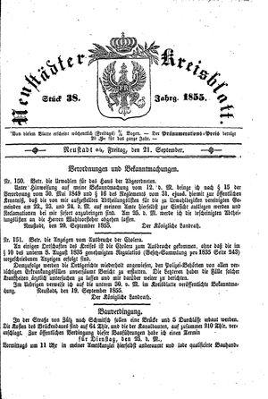 Neustädter Kreisblatt vom 21.09.1855