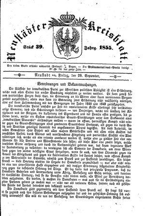Neustädter Kreisblatt vom 28.09.1855