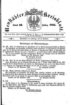 Neustädter Kreisblatt on Oct 5, 1855