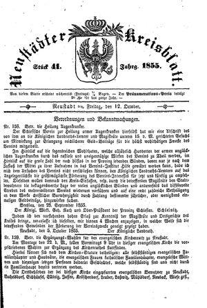 Neustädter Kreisblatt vom 12.10.1855