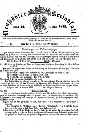 Neustädter Kreisblatt vom 19.10.1855