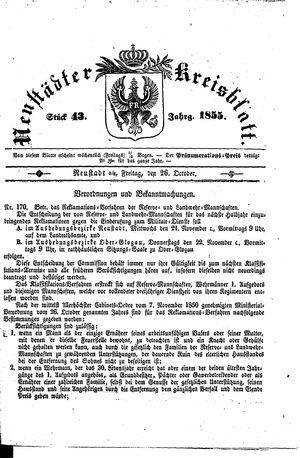 Neustädter Kreisblatt vom 26.10.1855