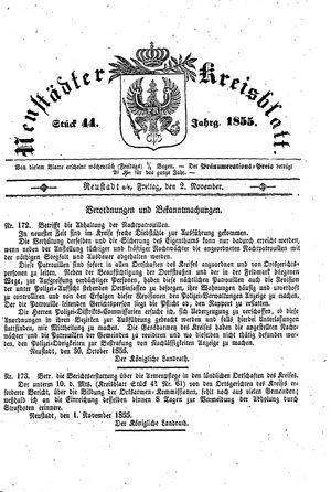 Neustädter Kreisblatt vom 02.11.1855