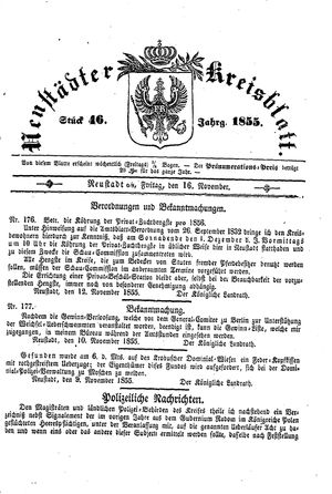 Neustädter Kreisblatt vom 16.11.1855