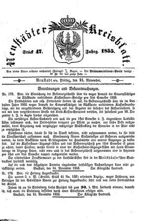 Neustädter Kreisblatt vom 23.11.1855