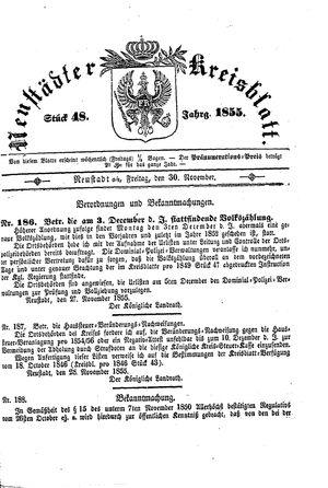 Neustädter Kreisblatt vom 30.11.1855