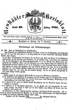 Neustädter Kreisblatt vom 07.12.1855