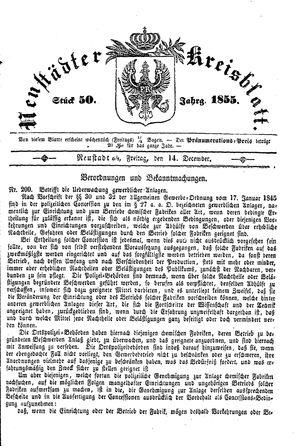 Neustädter Kreisblatt on Dec 14, 1855