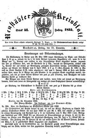 Neustädter Kreisblatt vom 21.12.1855