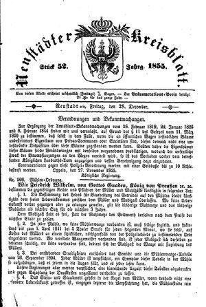 Neustädter Kreisblatt vom 28.12.1855