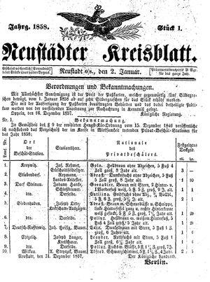 Neustädter Kreisblatt on Jan 2, 1858