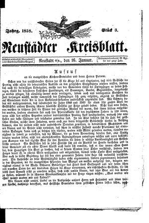 Neustädter Kreisblatt vom 16.01.1858
