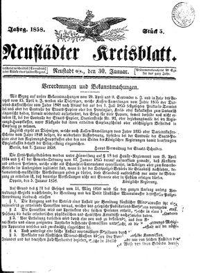 Neustädter Kreisblatt vom 30.01.1858