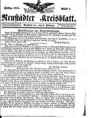 Neustädter Kreisblatt vom 06.02.1858