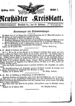 Neustädter Kreisblatt vom 13.02.1858
