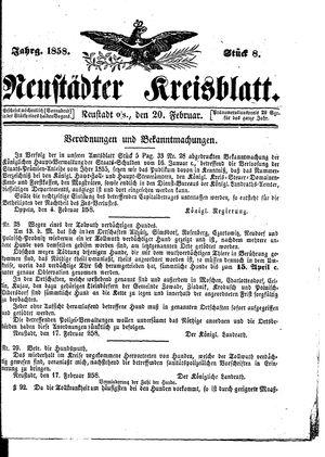 Neustädter Kreisblatt vom 20.02.1858