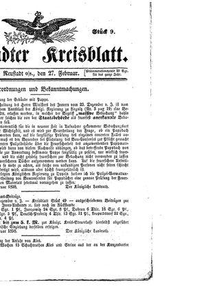 Neustädter Kreisblatt vom 27.02.1858