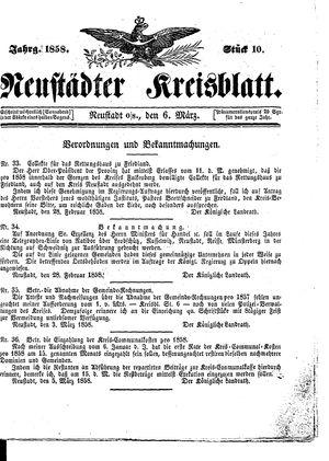 Neustädter Kreisblatt vom 06.03.1858
