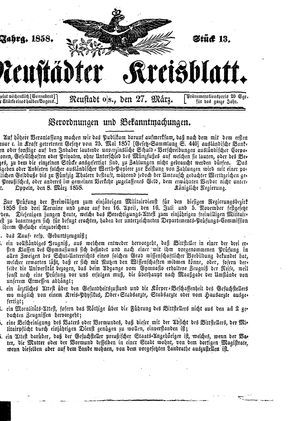 Neustädter Kreisblatt vom 27.03.1858