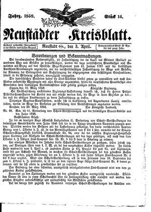 Neustädter Kreisblatt vom 03.04.1858