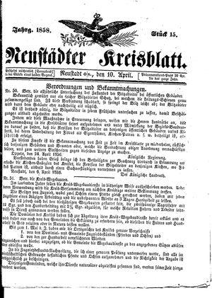 Neustädter Kreisblatt vom 10.04.1858