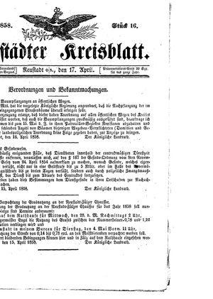 Neustädter Kreisblatt vom 17.04.1858