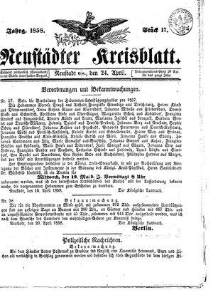 Neustädter Kreisblatt vom 24.04.1858