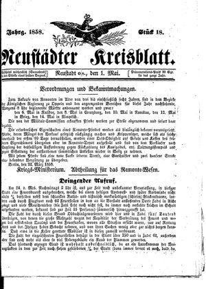 Neustädter Kreisblatt vom 01.05.1858