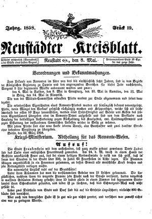 Neustädter Kreisblatt vom 08.05.1858