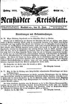 Neustädter Kreisblatt vom 12.06.1858