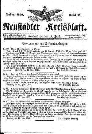 Neustädter Kreisblatt vom 19.06.1858