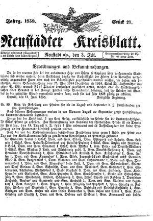 Neustädter Kreisblatt vom 03.07.1858