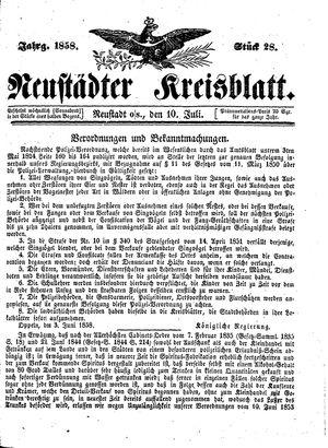 Neustädter Kreisblatt vom 10.07.1858