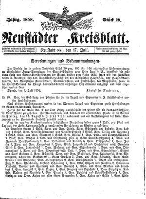 Neustädter Kreisblatt vom 17.07.1858