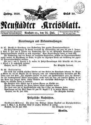 Neustädter Kreisblatt vom 24.07.1858