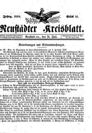 Neustädter Kreisblatt vom 31.07.1858