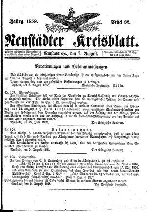 Neustädter Kreisblatt vom 07.08.1858