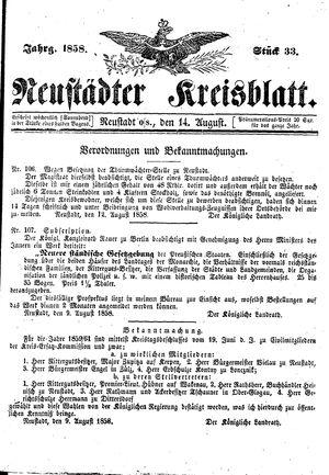 Neustädter Kreisblatt vom 14.08.1858