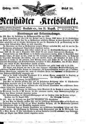 Neustädter Kreisblatt vom 21.08.1858