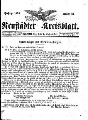 Neustädter Kreisblatt vom 04.09.1858